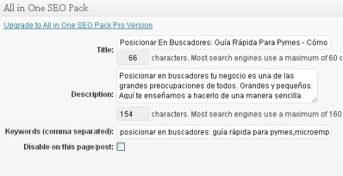 posicionar en buscadores all in one seo pack