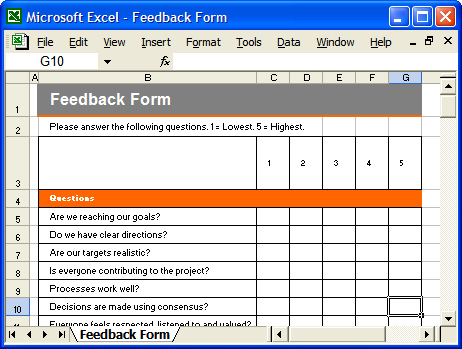 Feedback Template Excel